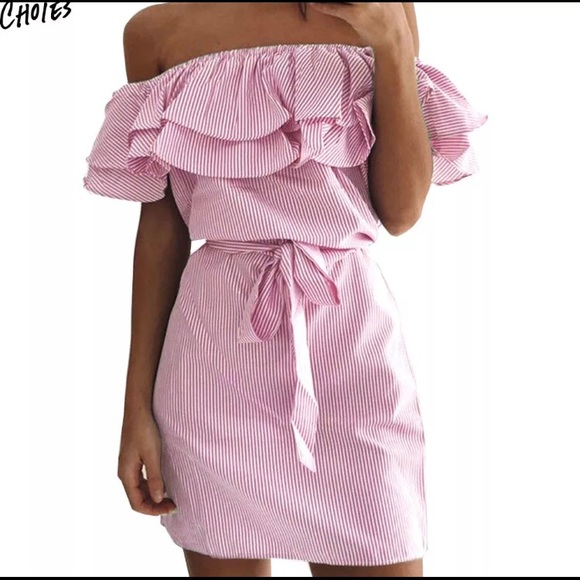 01c11ed2d0c3 3  20 Choies Pink White Off Shoulder Dress